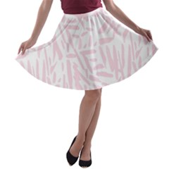 Graffiti Paint Pink A Line Skater Skirt