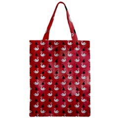 Goose Swan Hook Red Zipper Classic Tote Bag