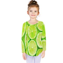 Green Lemon Slices Fruite Kids  Long Sleeve Tee