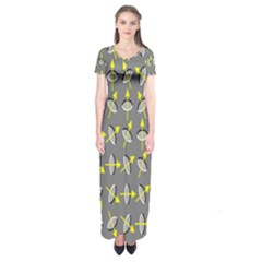 Illusory Motion Of Each Grain Arrow Grey Short Sleeve Maxi Dress