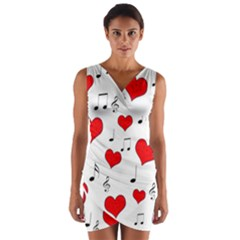 Love Song Pattern Wrap Front Bodycon Dress by Valentinaart