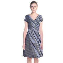 Architecture Short Sleeve Front Wrap Dress