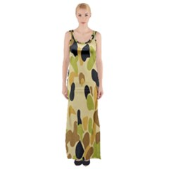 Army Camouflage Pattern Maxi Thigh Split Dress