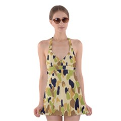 Army Camouflage Pattern Halter Swimsuit Dress by Nexatart