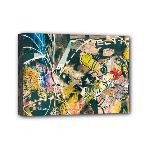 Art Graffiti Abstract Vintage Mini Canvas 7  X 5  by Nexatart