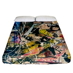 Art Graffiti Abstract Vintage Fitted Sheet (california King Size) by Nexatart
