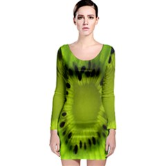 Kiwi Fruit Slices Cut Macro Green Long Sleeve Bodycon Dress by Alisyart