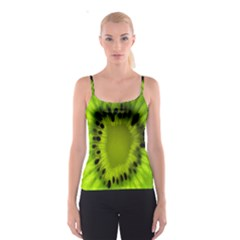 Kiwi Fruit Slices Cut Macro Green Spaghetti Strap Top