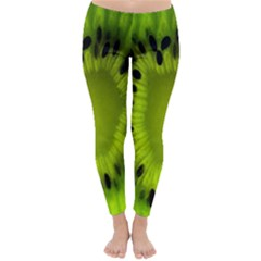 Kiwi Fruit Slices Cut Macro Green Classic Winter Leggings