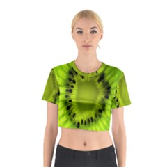 Kiwi Fruit Slices Cut Macro Green Cotton Crop Top by Alisyart