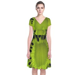 Kiwi Fruit Slices Cut Macro Green Short Sleeve Front Wrap Dress by Alisyart