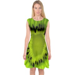 Kiwi Fruit Slices Cut Macro Green Capsleeve Midi Dress by Alisyart
