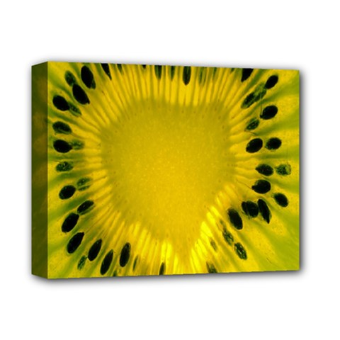 Kiwi Fruit Slices Cut Macro Green Yellow Deluxe Canvas 14  X 11  by Alisyart