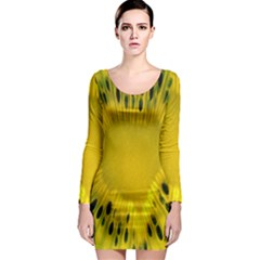 Kiwi Fruit Slices Cut Macro Green Yellow Long Sleeve Bodycon Dress by Alisyart