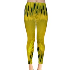 Kiwi Fruit Slices Cut Macro Green Yellow Classic Winter Leggings