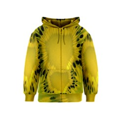 Kiwi Fruit Slices Cut Macro Green Yellow Kids  Zipper Hoodie by Alisyart