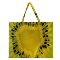 Kiwi Fruit Slices Cut Macro Green Yellow Zipper Large Tote Bag by Alisyart