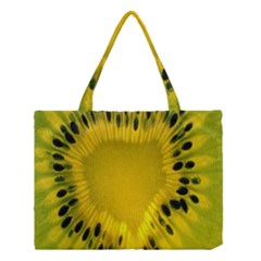 Kiwi Fruit Slices Cut Macro Green Yellow Medium Tote Bag by Alisyart