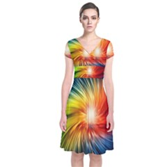 Lamp Light Galaxy Space Color Short Sleeve Front Wrap Dress