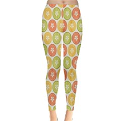 Lime Orange Fruit Slice Color Classic Winter Leggings