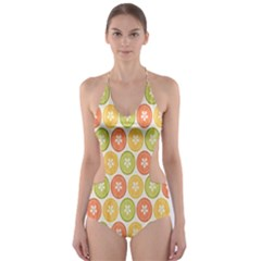 Lime Orange Fruit Slice Color Cut Out One Piece Swimsuit