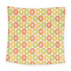 Lime Orange Fruit Slice Color Square Tapestry (large) by Alisyart