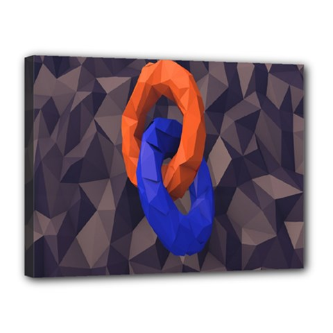 Low Poly Figures Circles Surface Orange Blue Grey Triangle Canvas 16  X 12