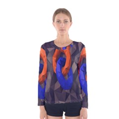 Low Poly Figures Circles Surface Orange Blue Grey Triangle Women s Long Sleeve Tee