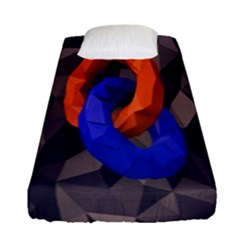 Low Poly Figures Circles Surface Orange Blue Grey Triangle Fitted Sheet (single Size) by Alisyart