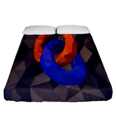 Low Poly Figures Circles Surface Orange Blue Grey Triangle Fitted Sheet (queen Size) by Alisyart