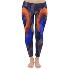 Low Poly Figures Circles Surface Orange Blue Grey Triangle Classic Winter Leggings