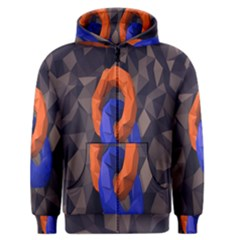 Low Poly Figures Circles Surface Orange Blue Grey Triangle Men s Zipper Hoodie
