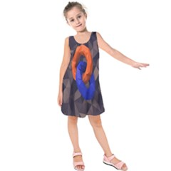 Low Poly Figures Circles Surface Orange Blue Grey Triangle Kids  Sleeveless Dress