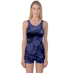 Marble Blue Marbles One Piece Boyleg Swimsuit