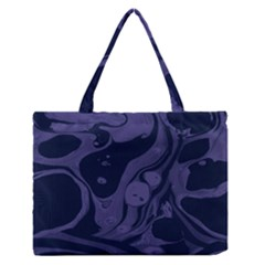 Marble Blue Marbles Medium Zipper Tote Bag
