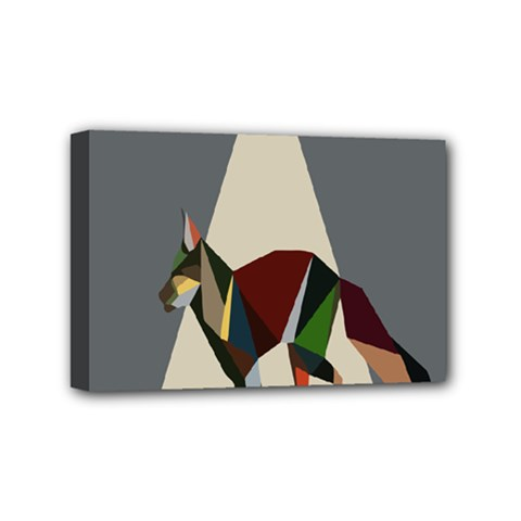 Nature Animals Artwork Geometry Triangle Grey Gray Mini Canvas 6  X 4  by Alisyart