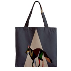 Nature Animals Artwork Geometry Triangle Grey Gray Zipper Grocery Tote Bag