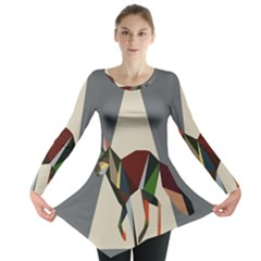 Nature Animals Artwork Geometry Triangle Grey Gray Long Sleeve Tunic