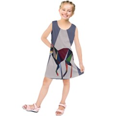 Nature Animals Artwork Geometry Triangle Grey Gray Kids  Tunic Dress