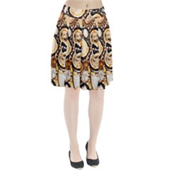 Natural Agate Mosaic Pleated Skirt