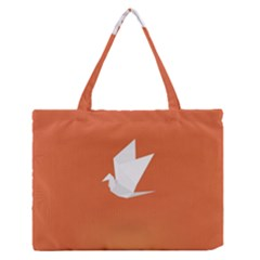 Origami Bird Animals White Orange Medium Zipper Tote Bag by Alisyart