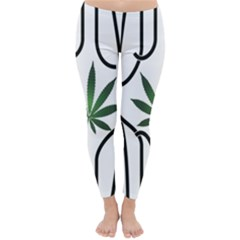 Marijuana Jail Leaf Green Black Classic Winter Leggings