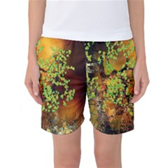 Backdrop Background Tree Abstract Women s Basketball Shorts
