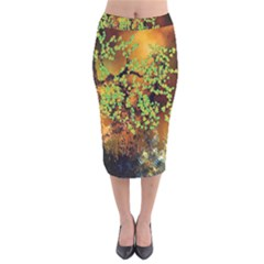 Backdrop Background Tree Abstract Velvet Midi Pencil Skirt