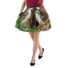 Backdrop Colorful Bird Decoration A Line Pocket Skirt