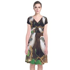 Backdrop Colorful Bird Decoration Short Sleeve Front Wrap Dress