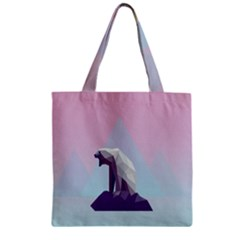 Polar Bears Animals White Zipper Grocery Tote Bag