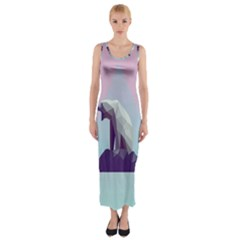 Polar Bears Animals White Fitted Maxi Dress