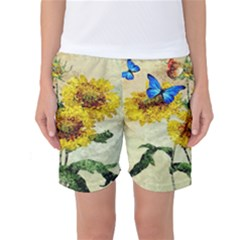 Backdrop Colorful Butterfly Women s Basketball Shorts by Nexatart