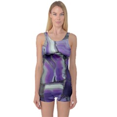 Purple Agate Natural One Piece Boyleg Swimsuit